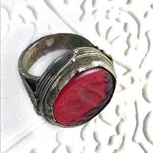 Jewelry - Vintage Afghan red stone and metal ring